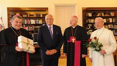 Archbishop Duka (left) and fellow priests bearing gifts (and roses) for President Klaus on his 70th birthday. Klaus vetoed the 2006 registered partnership act allowing gays and lesbians the same rights as hetrosexual couples, but the lower house of Parli