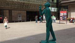 Jiří Středa's anatomically correct sculpture livens up a gray plaza