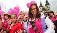 Na růžový pochod proti rakovině prsu přišlo 20 tisíc lidí