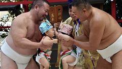 Japonští bojovníci sumó se potýkali s plačícími batolaty