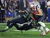 New England Patriots wide receiver Edelman is tackled by Seattle Seahawks free...