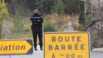French gendarmes prevent media access to the site of a bus crash in Puisseguin, near Bordeaux, southwestern France, following a road accident in which ...