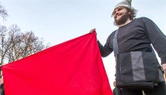Na mítink se Zemanem přišli dva kominíci s červenými trenýrkami