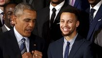 U.S. President Barack Obama makes a joking reference to Golden State Warriors' player Stephen Curry at an event honoring the 2015 NBA basketball champions at the White House in Washington