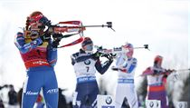 Gabriela Soukalova of the Czech Republic shoots on her way to winning the 12.5 km pursuit competition during the World Cup Biathlon, Friday, Feb. 12,  ...