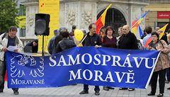 V Brně protestovali Moravané proti názvu Czechia. Ignoruje podle nich Moravu