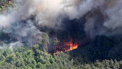 U Bzence hořel les, hasiči vyhlásili nejvyšší stupeň poplachu. Zasahoval i vrtulník