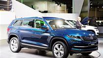Předseda představenstva mladoboleslavské automobilky Škoda Auto Bernhard Maier představil 28. září v předvečer autosalonu v Paříži velké SUV Škoda Kodiaq.