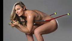 Kráska Vonnová se znovu svlékla donaha, před objektivem pózovala jen s lyžařskými hůlkami