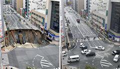 Rychle opravená silnice v Japonsku se opět propadla. Pokles je v pořádku, tvrdí úřady