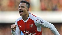 Arsenal's Alexis Sanchez celebrates after scoring during the English Premier League soccer match between Arsenal and Bornemouth at Emirates stadium in ...