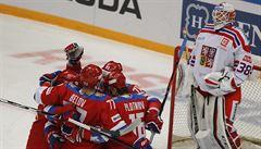 Čeští hokejisté dostali v Moskvě pětibrankový výprask od sborné a opět nebodovali