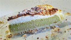 Vyzkoušejte křehký koláč s příchutí matcha čaje a tvarohem