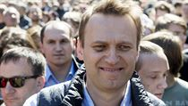 Russian opposition leader Alexei Navalny, center, takes part in a rally in...