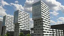 Starší návrh tří z výškových budov, které chce v pražských Ďáblicích vztyčit firma CPI. Návrh je starý několik let, dnes se od něj firma distancuje.