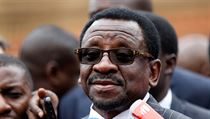 Kenyan opposition National Super Alliance coalition lead lawyer Orengo speaks during a news conference outside the Supreme Court in Nairobi