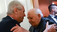 Miloš Zeman se v Moskvě setkal s exsovětským prezidentem Michailem Gorbačovem