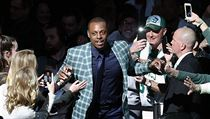 Former Boston Celtics Paul Pierce comes onto the court during a ceremony to...