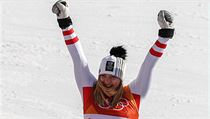 Katharina Gallhuber, of Austria, celebrates her bronze medal during the venue...