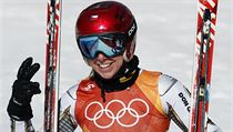 Czech Republic's Ester Ledecka smiles after competing in the women's super-G at...