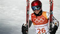 Czech Republic's Ester Ledecka smiles after competing in the women's super-G at the 2018 Winter Olympics in Jeongseon, South Korea, Saturday, Feb. 17, ...