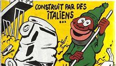 Postaveno Italy, uklizeno migranty. Na obálce Charlie Hebdo je karikatura zříceného janovského mostu