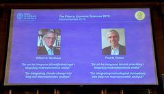 Nobelovu cenu za ekonomii získali Nordhaus a Romer. Věnovali se klimatickým změnám