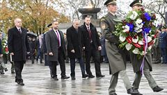 Prezidenti Zeman a Kiska si připomněli 100 let republiky u památníku na Vítkově