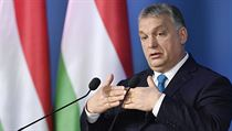 Hungarian Prime Minister Viktor Orban addresses the media during an...
