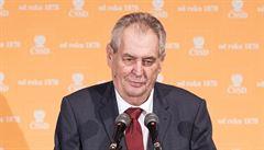 Budu volit sociální demokracii, řekl Zeman na volebním sjezdu ČSSD