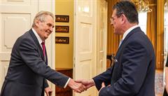Pomůže Šefčovičovi setkání se Zemanem? Prezident mu popřál úspěch a ocenil jeho schopnosti