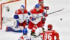 Čeští hokejisté na šampionátu poprvé padli. Rusku v nervózním utkání podlehli 0:3