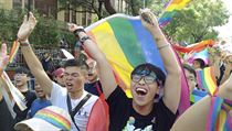 Same-sex marriage supporters cheer outside the Legislative Yuan Friday, May 17,...