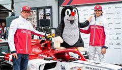 Krteček na monopostu formule 1. Jezdit s ním bude Räikkönen na Alfa Romeo