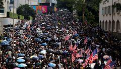 'Osvoboďte prosím Hongkong.' Demonstranti žádali u americké ambasády o pomoc Trumpa, organizátor Wong zatčen