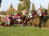 Žokejové se svými koni se snaží překonat jednu z překážek.