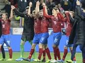 Čeští hráči se radují z vítězství.