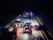 Hromadná nehoda na dálnici D1 na Benešovsku 13. října 2019.