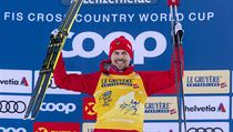 Sergey Ustiugov from Russia at the men's 15 km cross country skiing mass start...