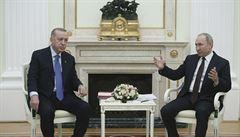 Putin, Erdogan a za nimi socha Rusů porážejících Turky. Ruský prezident si připravil pro návštěvu překvapení
