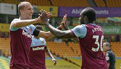 Součkův West Ham výhrou odsoudil Norwich k sestupu, všechny čtyři góly vstřelil Antonio