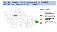 Na koronavirové mapě se zvýšeným výskytem zůstala Praha a Frýdek-Místek