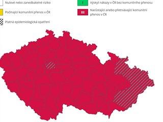 Mapa šíření ukazuje, že covid se komunitně šíří již po celém Česku.