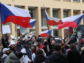 Demonstrace proti vládním opatřením.