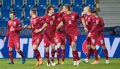 Čeští fotbalisté postupují z prvního místa v Lize národů, výhru proti Slovensku řídil Souček s Ondráškem