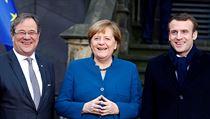 Von links: Armin Lacet, Präsident Angela Merkel und französischer Präsident ...