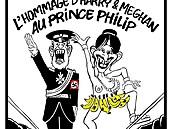 Harry s hákovým křížem a nahá Meghan nad hrobem Philipa. Satirici z Charlie Hebdo znovu provokují