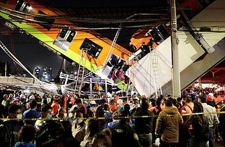 Tragická nehoda v mexickém metru, pod soupravou se zřítil most. Nejméně 20 mrtvých, 70 zraněných