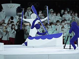 Slavnostní zahájení letních olympijských her v Tokiu. Na snímku pohyblivé...