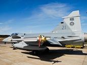 Gripen jihoafrických vzdušných sil na cvičení Lion Effort ve švédském Ronneby